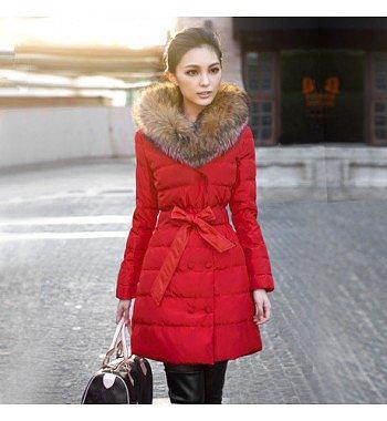 fashion luxury raccoon fur thickening slim lacing medium-long cotton-padded down coat