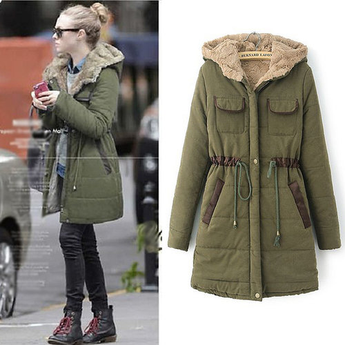 Discount high-quality European and American style fashion Slim long sections hooded down coat in women down parkas on sightface.