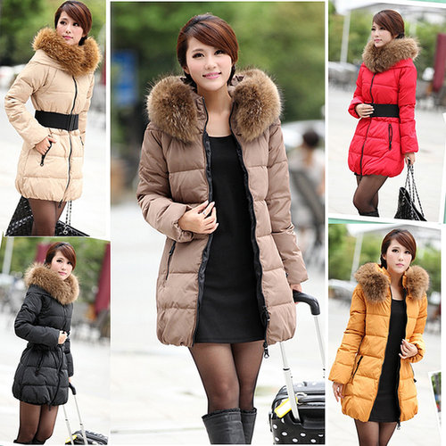 Discount Korean 2013 Fashion winter ladies down jackets fur hooded thick outerwear coats with belt in women down parkas on sight