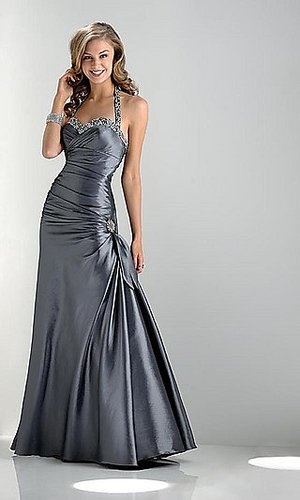 Prom Dresses Mermaid Halter Floor Length Taffeta Sequins