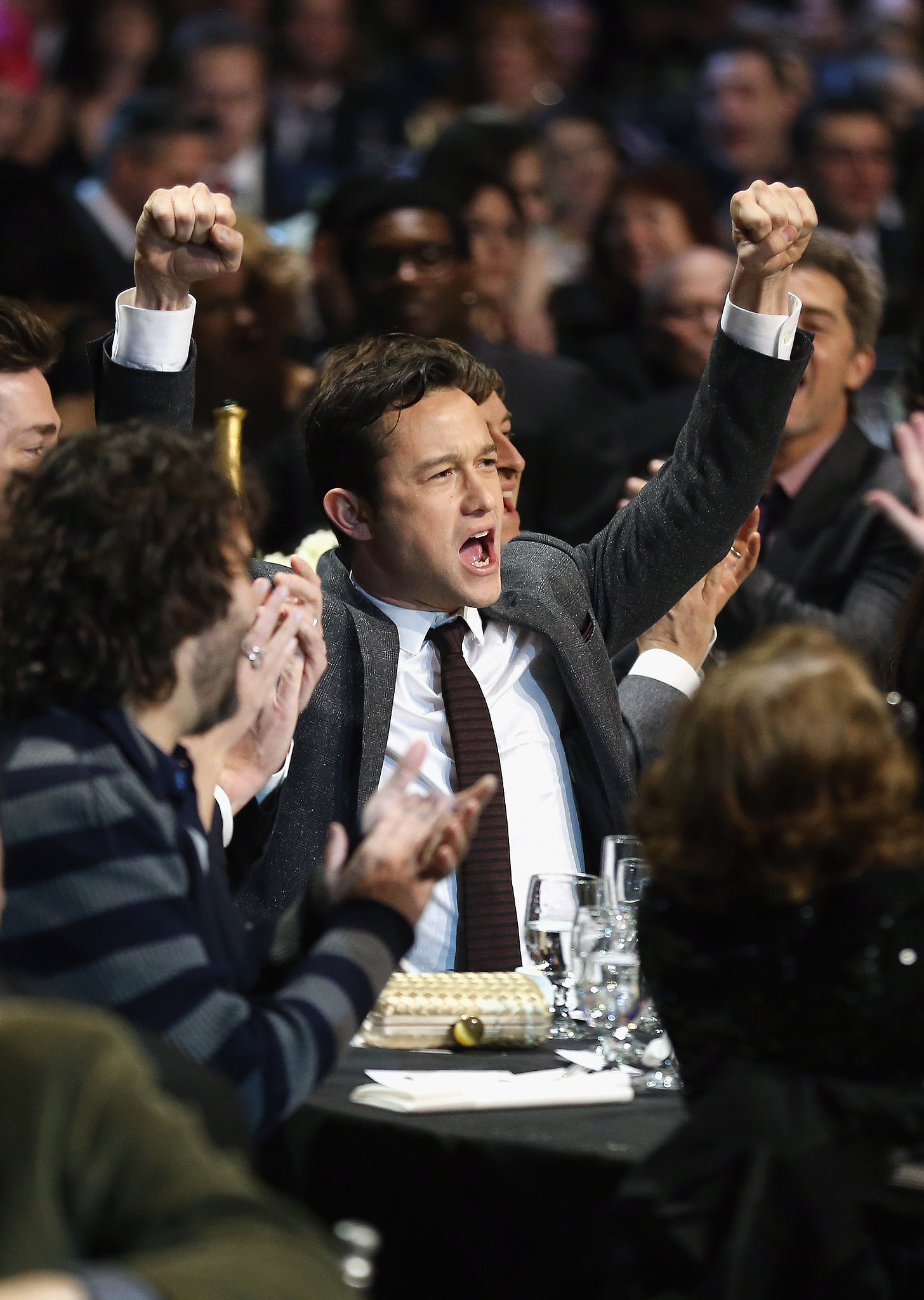 Joseph Gordon-Levitt cheered at the People's Choice Awards.