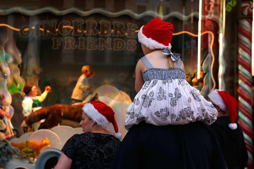 Families checked out the Christmas decorations in Melbourne, Australia.