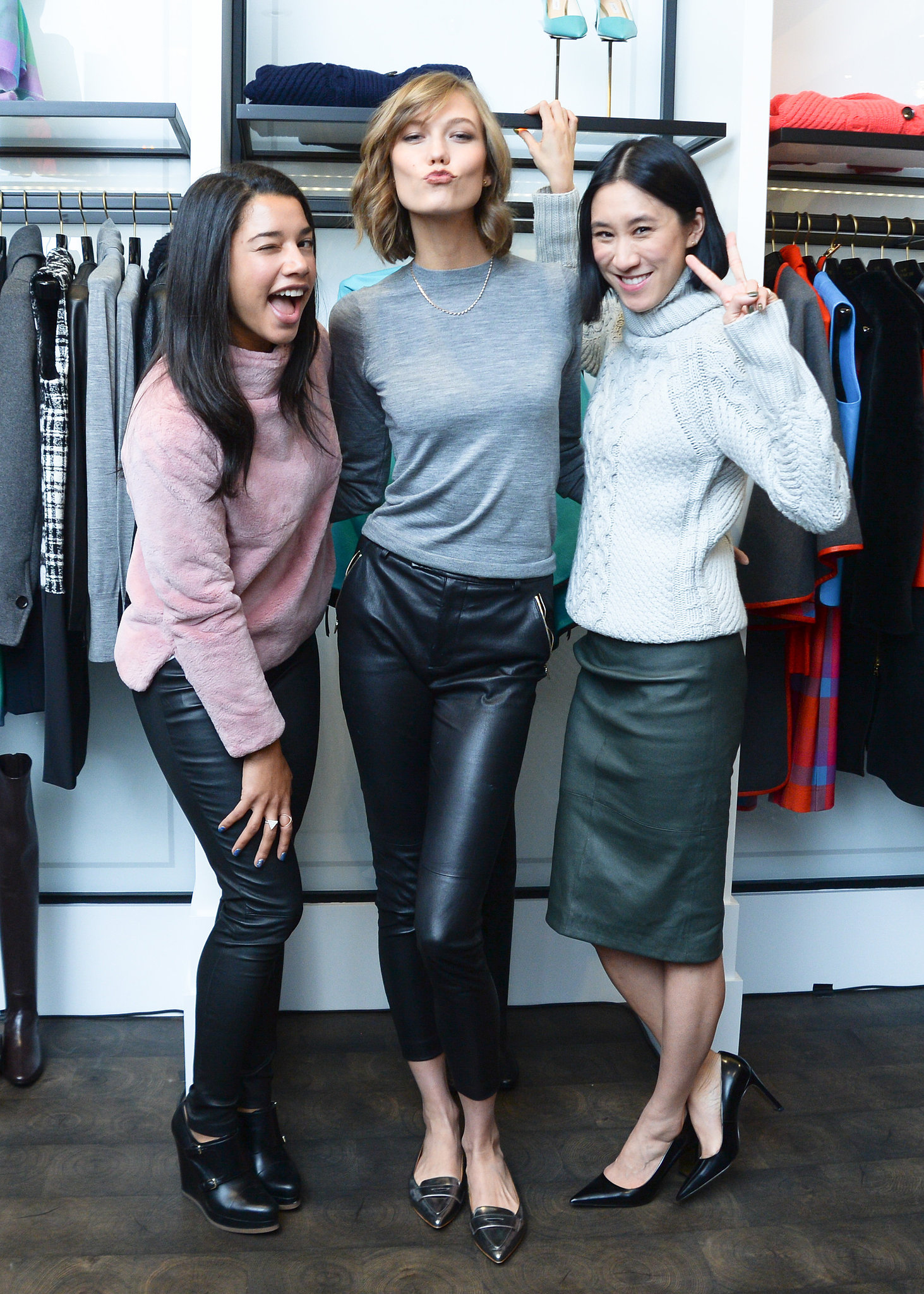 Hannah Bronfman, Karlie Kloss, and Eva Chen at the reopening of Coach's 79th Street store in New York.