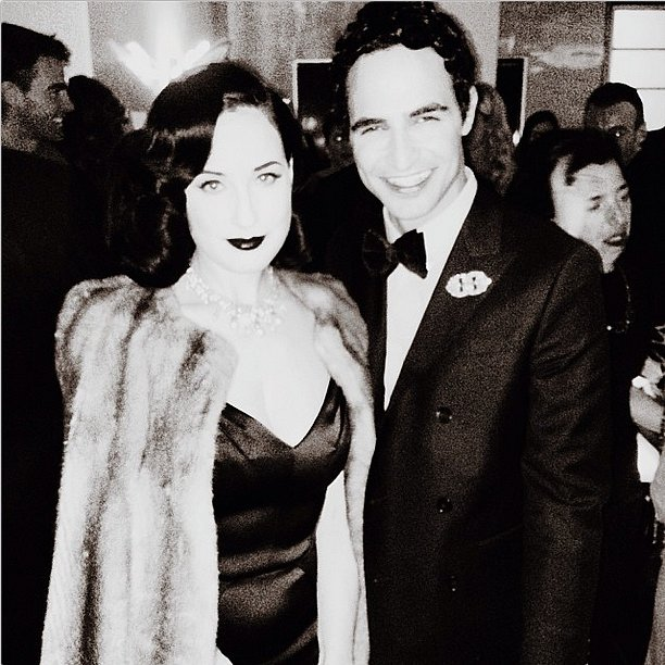 Zac Posen cozied up to Dita Von Teese at a dinner celebrating his Pre-Fall collection. Source: Instagram user zac_posen
