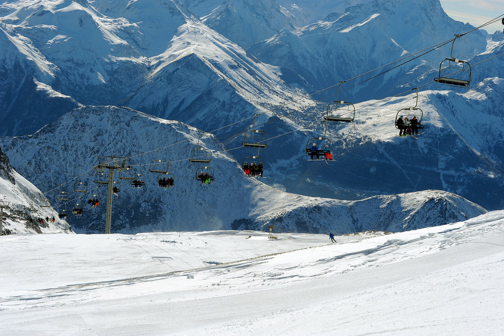 People enjoyed some skiing on the Sarenne glacier in the French Alps.