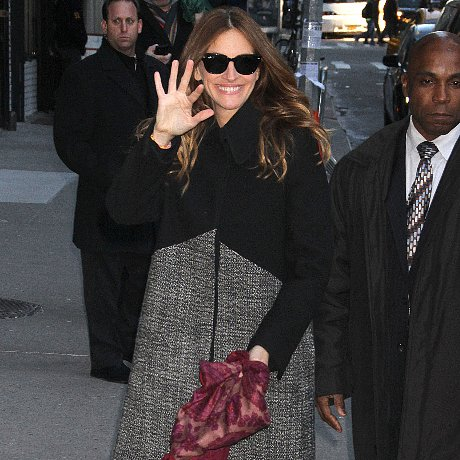 Julia Roberts Tweed Coat and Snakeskin Heels