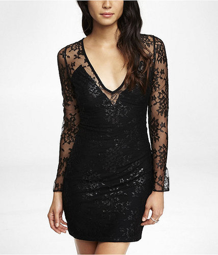Plunging V-Neck Metallic Lace Dress