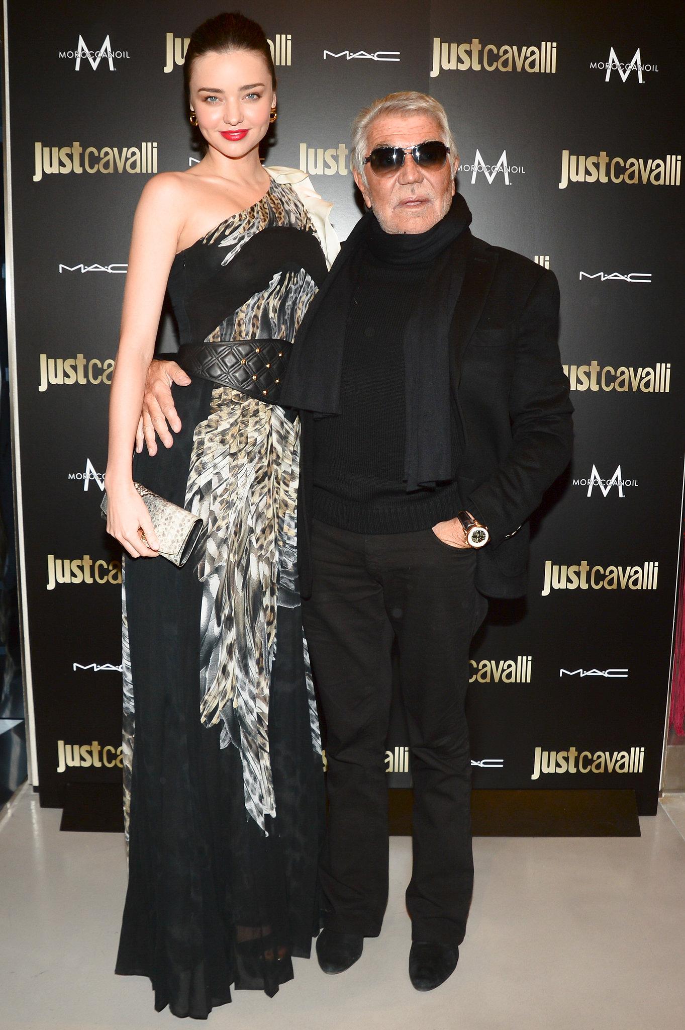 Miranda Kerr and Roberto Cavalli at the Just Cavalli cocktail party.