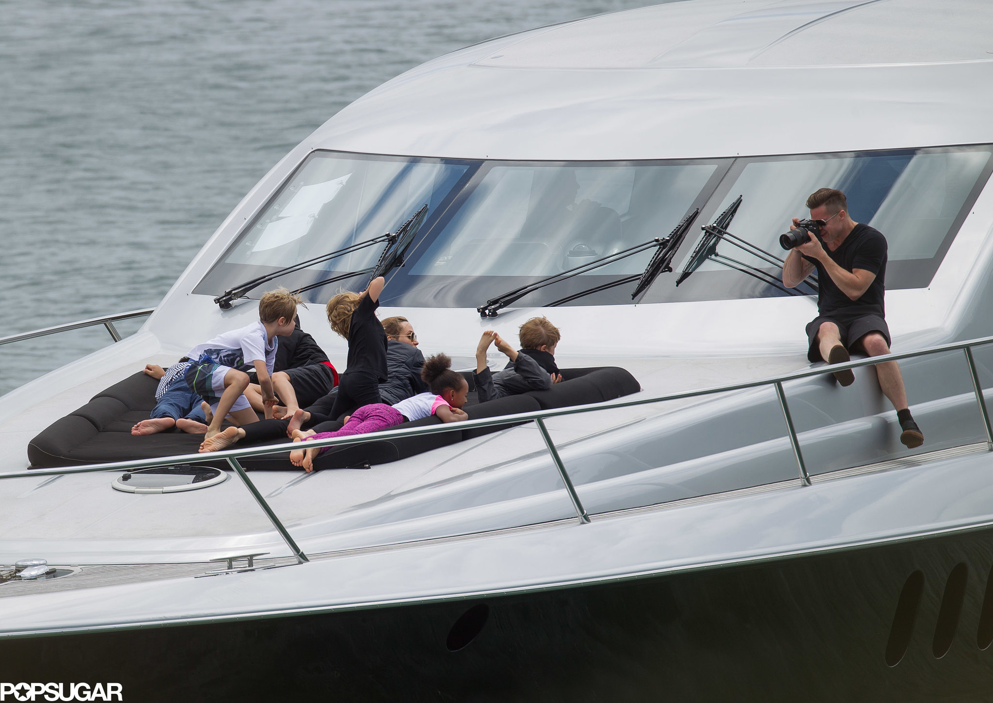Brad Pitt and Angelina Jolie went yachting with their children for a day on the open water in Australia.