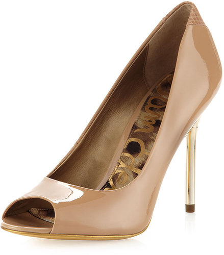 Sam Edelman Reagan Patent Open-Toe Pump, Nude