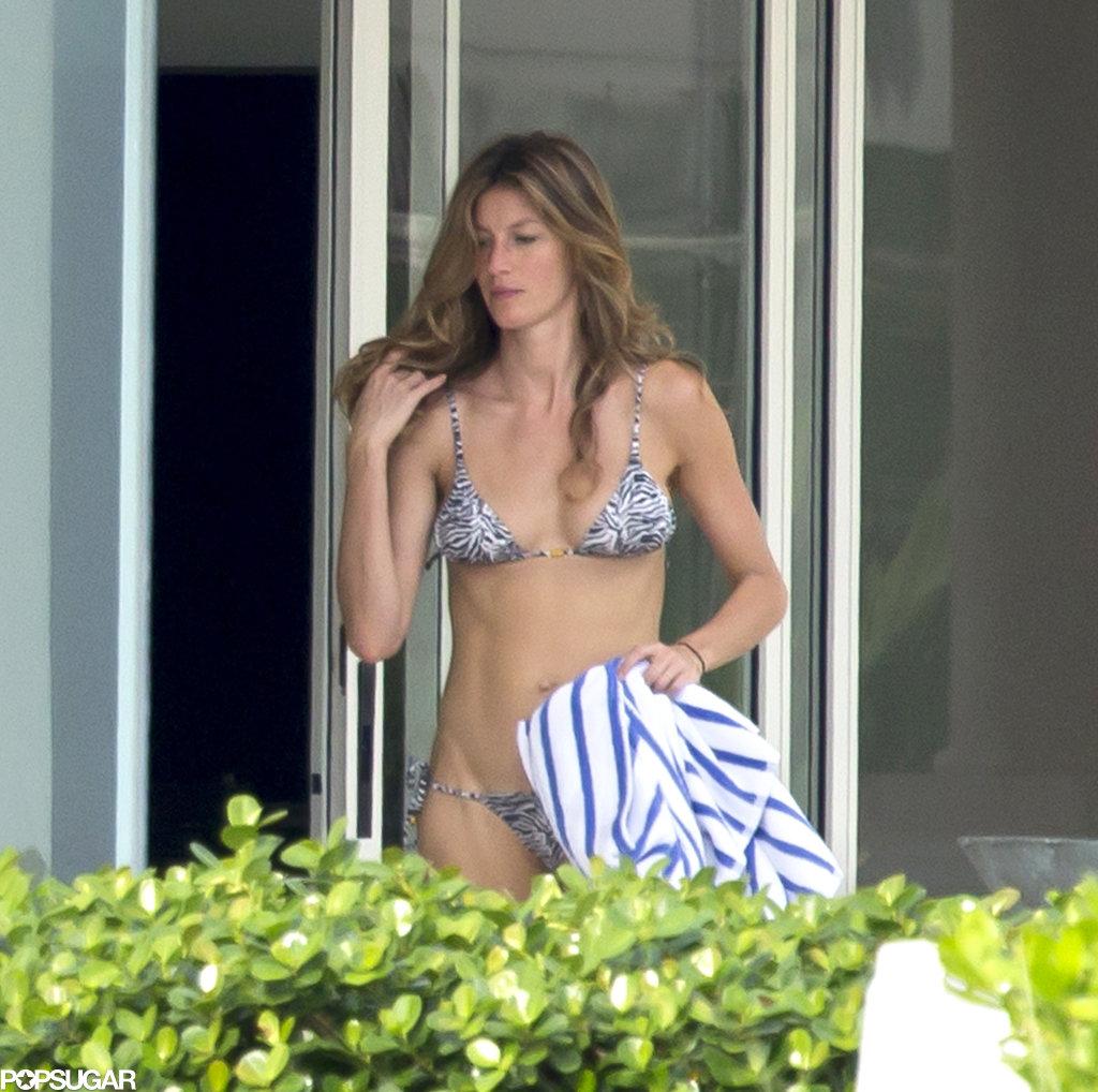 Gisele Bündchen wore a sexy zebra-print bikini while in Miami.