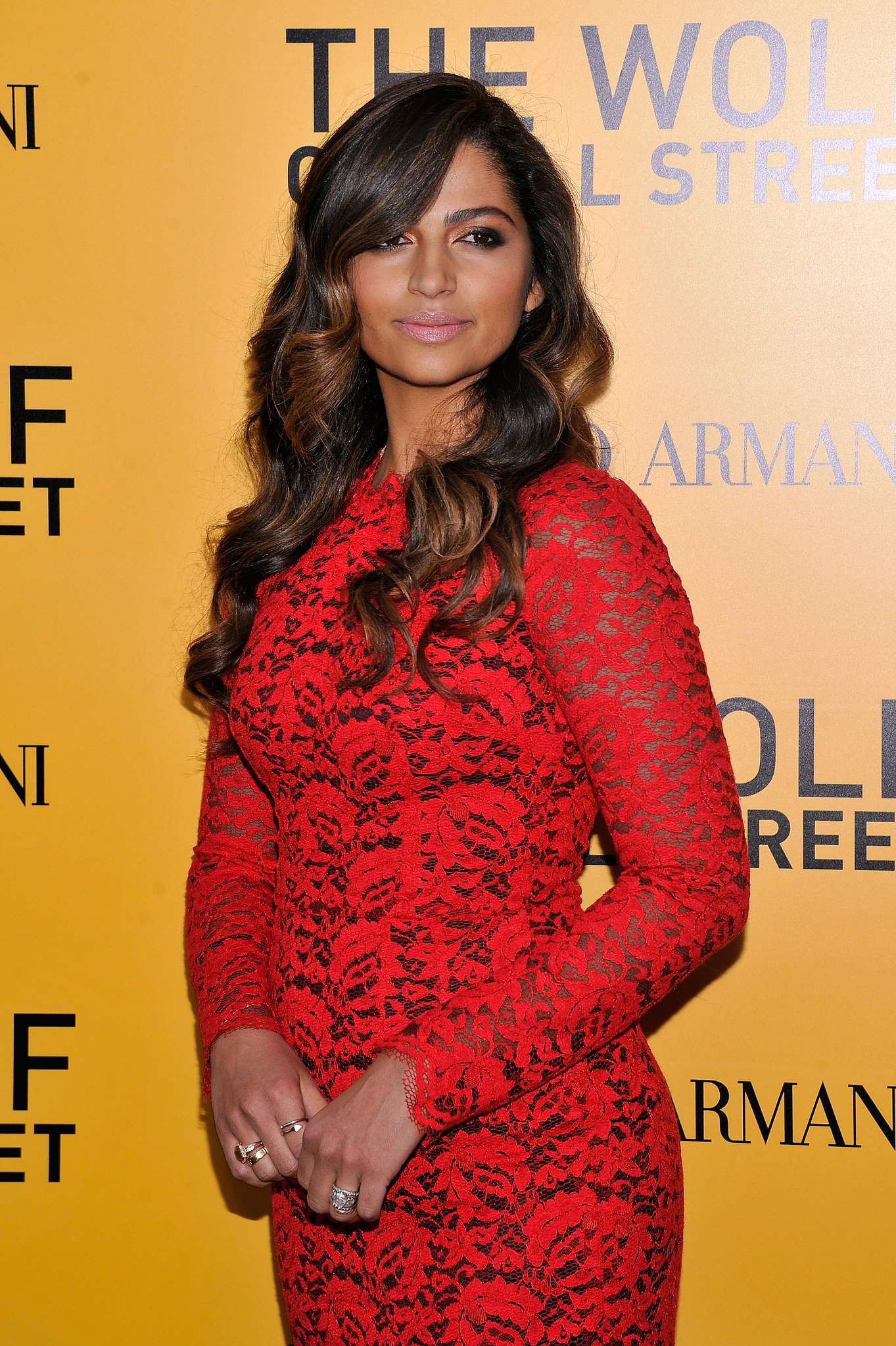 Camila Alves wore a fitted red dress to the NYC premiere of The Wolf of Wall Street.