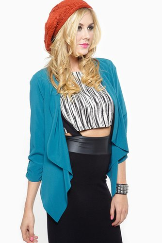Geometric Cut Draped Teal Blazer