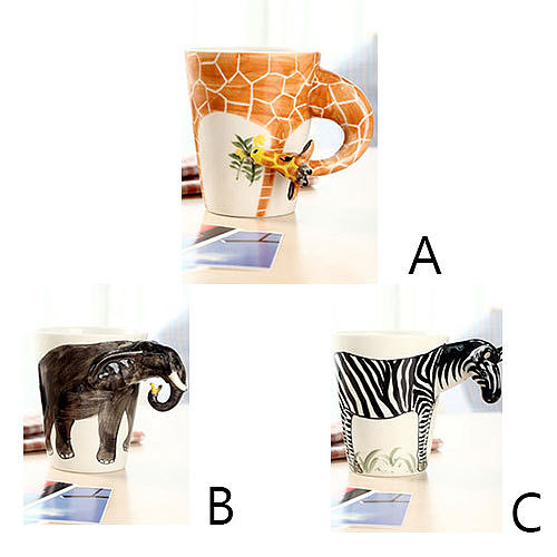 wishlove — [grzxy61200005]Giraffe Zebra Elephant Christmas Gift Creative Milk Coffee 3D Mug Cup
