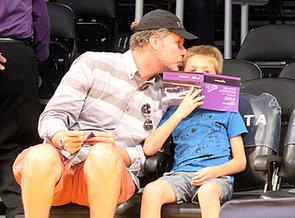 Ferrell-gave-his-son-Mattias-cute-peck-LA-Lakers-home