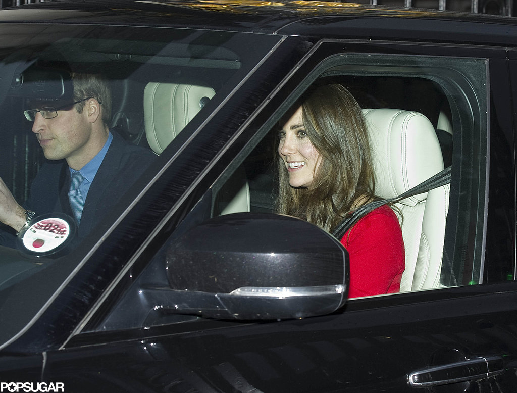 Prince William and Kate Middleton smiled while pulling into Buckingham Palace on Wednesday — the couple brought their son, Prince George, to his first royal holiday tradition, Queen Elizabeth II's pre-Christmas lunch.