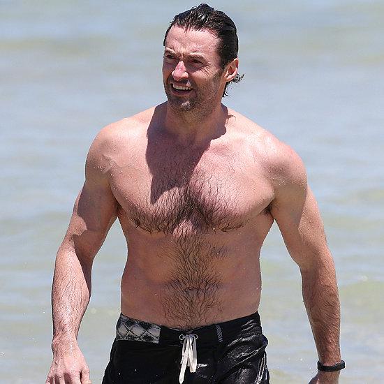 Hugh Jackman Shirtless At Bondi Beach
