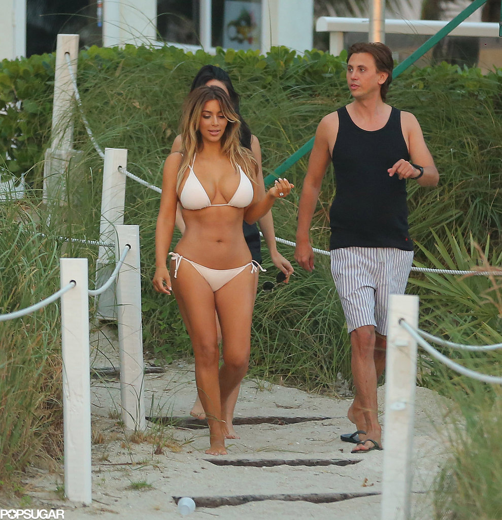 Kim went to the beach in Miami with friends.