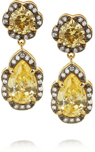 Kenneth Jay Lane Gold-plated cubic zirconia drop earrings