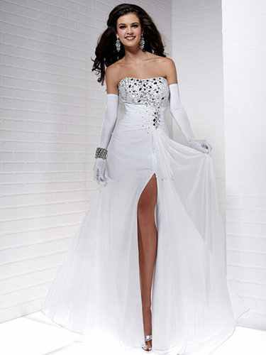 Prom Dresses White Sheath Floor Length Chiffon