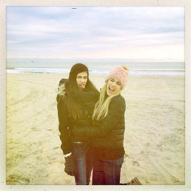 Emma Roberts bundled up for a trip to the beach! Source: Instagram user emmaroberts