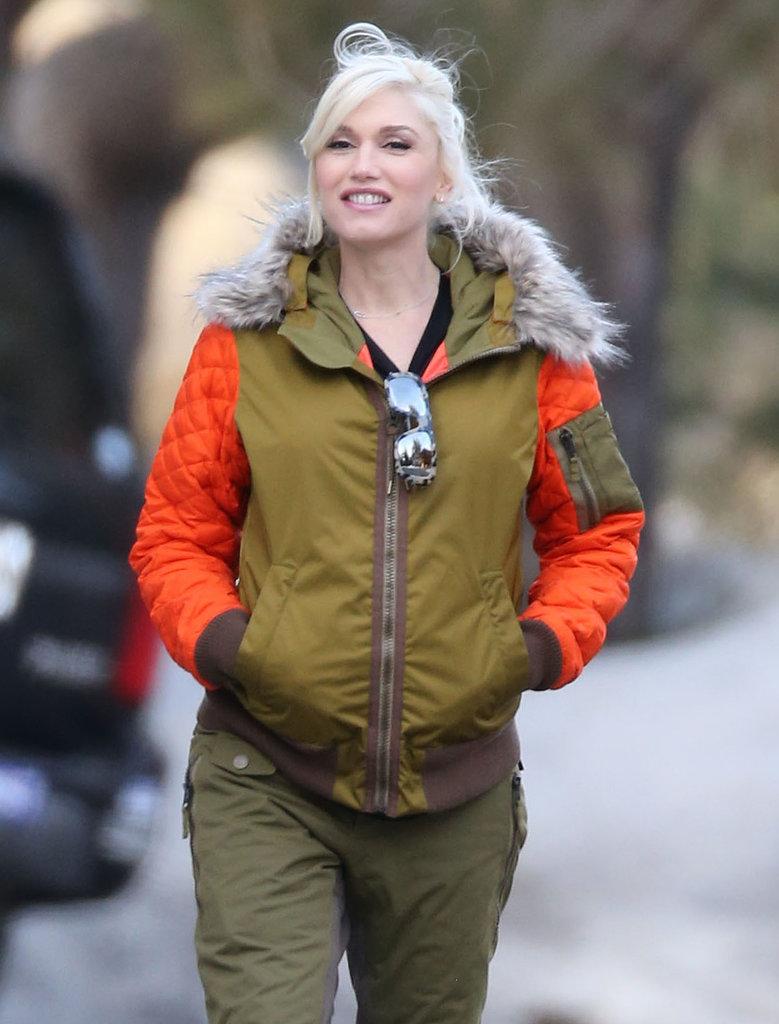 Gwen smiled near her cabin.