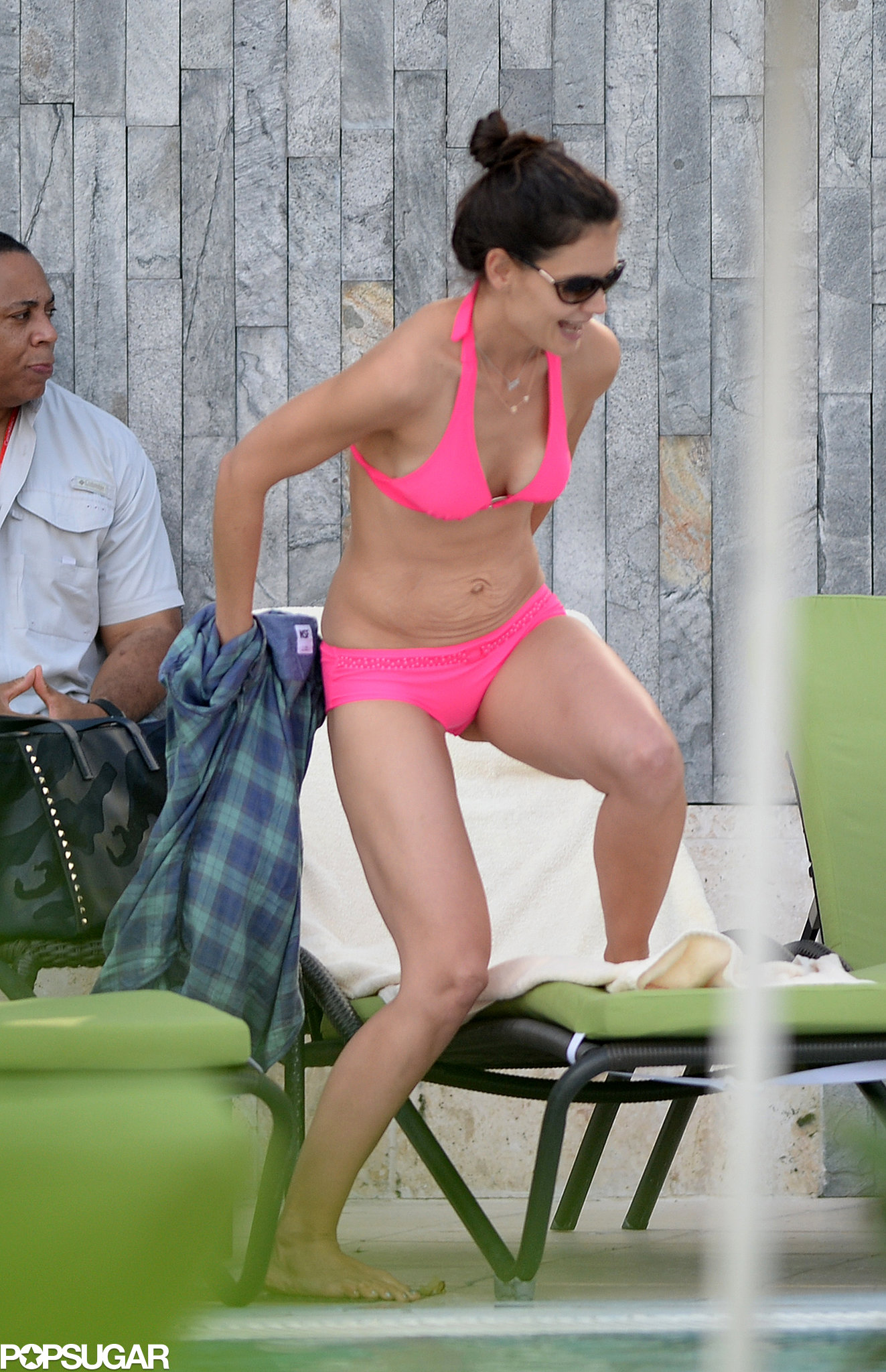 Katie Holmes wore a hot-pink bikini during her Florida vacation.