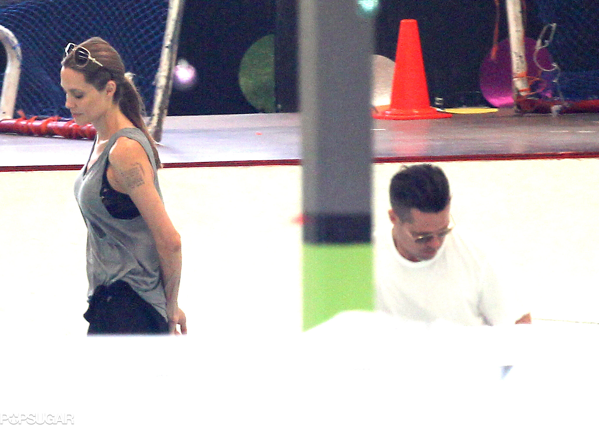 Brad and Angie Carve Out a Cute Moment on Ice
