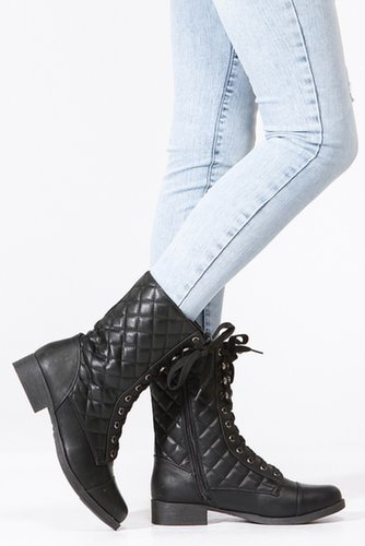 Bamboo Quilted Lace Up Combat Boots - Sale