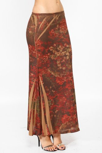 Brown Floral Maxi Skirt @ Cicihot Pants Online Store: sexy pants,sexy club wear,women's leather pants, hot pants,tight pants,swe