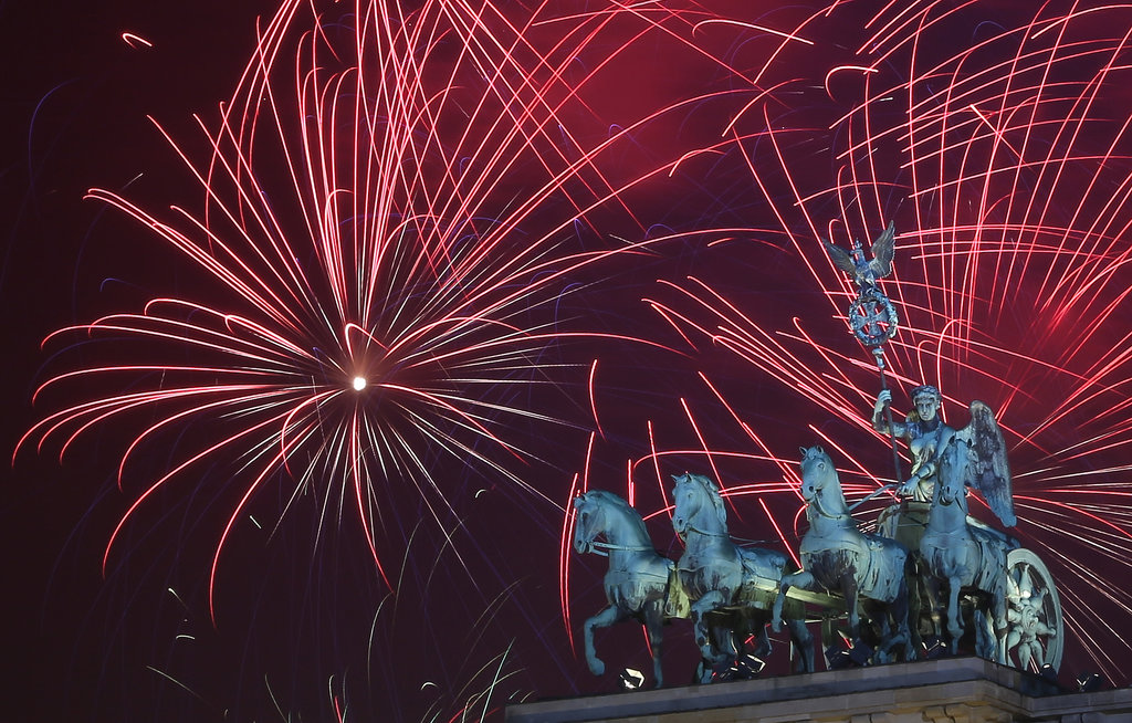 Berlin, Germany, celebrated New Year's Eve with a fireworks show.