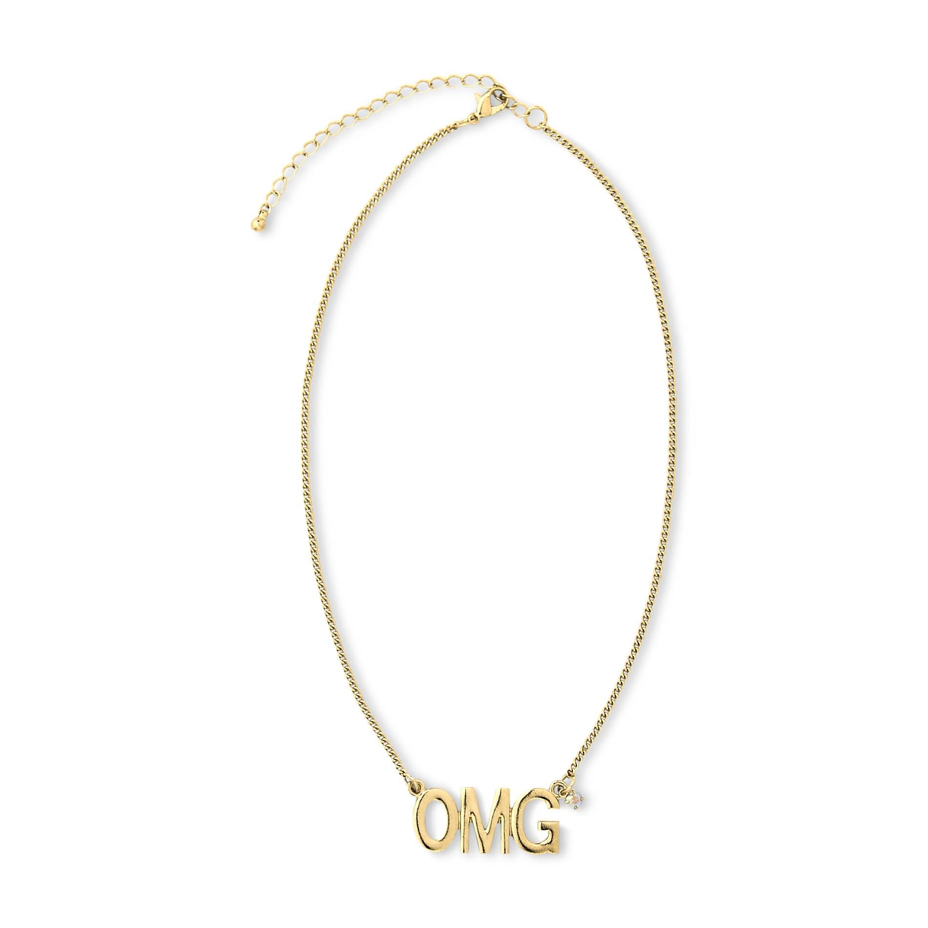 OMG and Rhinestone Pendant Necklace ($5)