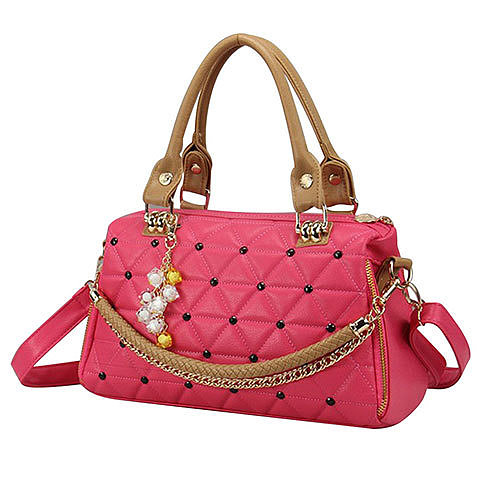 Candy Colors Quilted Pendant Chain Shoulder Messenger Bag Handbag