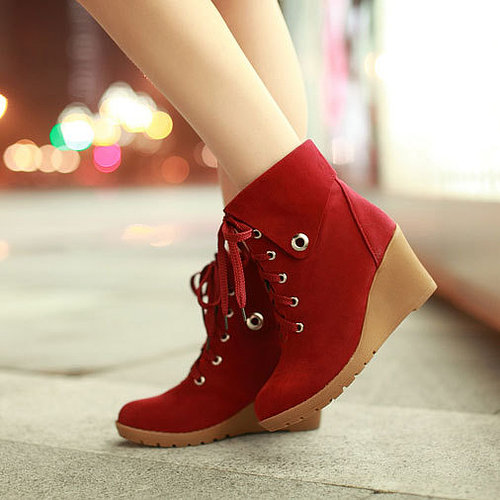 Image of [grzxy61900219]Leisure Sweet Solid Color Lace-up Flap Wedge Booties