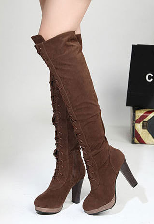 Image of [grzxy61900212]Sweet Girls Lace Up Block Heel Riding Over Knee Thigh High Boots