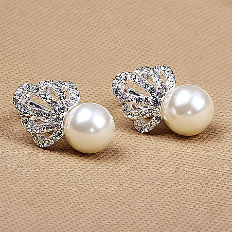 Image of [grxjy5300153]Luxury Crown Pearl Stud Earrings Stylish Ear Clip for Wedding Party