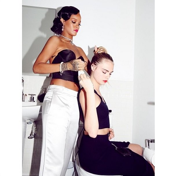 Lucky Cara Delevingne! She had none other than Rihanna as her hairstylist. Source: Instagram user badgirlriri