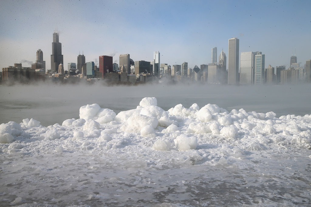 Snow covered the shores of Lake Michigan.