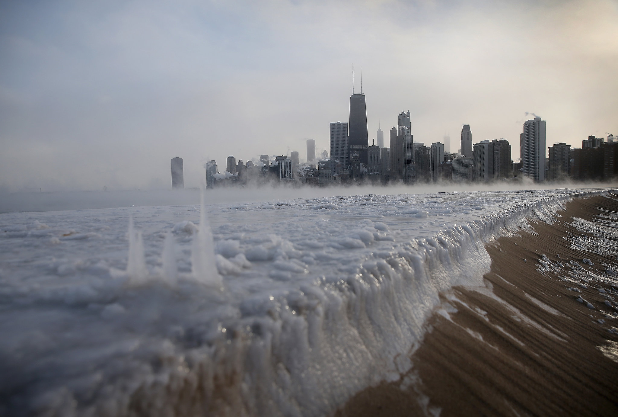 Ice built up along North Avenue Beach in Chicago.