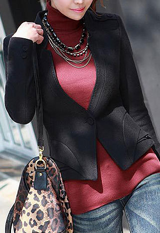 Image of [grzxy6600975]Short Jacket Slim Fit Coat Layered Hem Business Blazer for Office Ladies