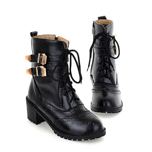 Motorcycle Style Lace Up Hollow Out Buckles Martin Boot Ankle Bootie