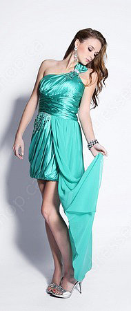 Sheath/Column One Shoulder Satin Chiffon Short/Mini Emerald Beading Prom Dress at Pickedresses.com