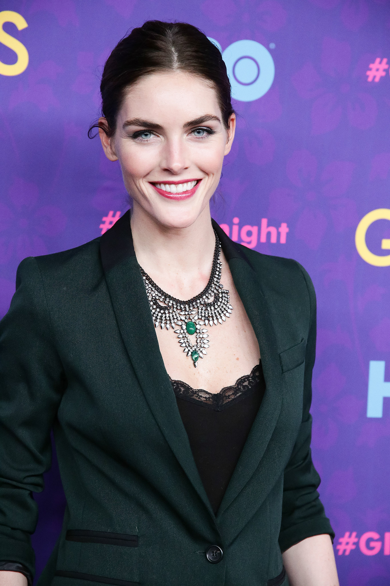 Hilary Rhoda was giving us serious skin envy at the premiere, where her pink lipstick and angelic bun were the perfect complement to her porcelain complexion.