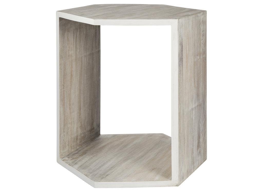 Wooden Hexagonal Side Table ($70)