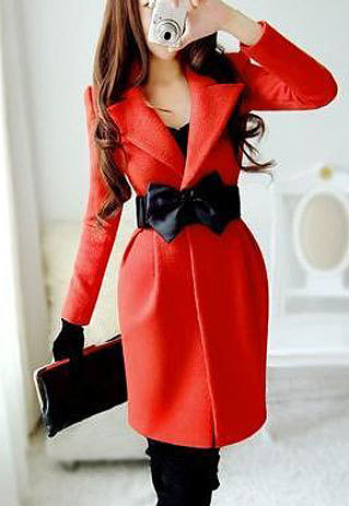 Image of  [grzxy6600981]Belted Notched Collar Red Black Long Jacket Slim Fit Coat Tunic
