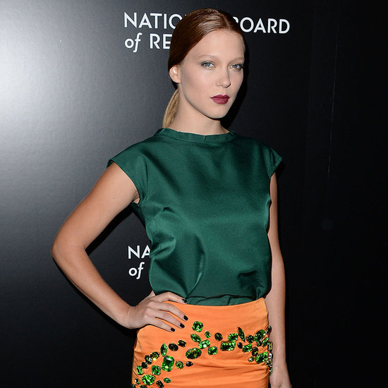 Lea Seydoux Orange Coat at National Board of Review