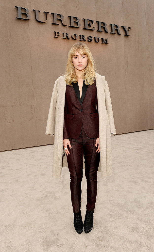 Suki Waterhouse at the Burberry menswear show.