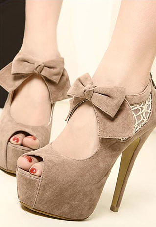 Image of [grzxy61900018]Elegant Bowknot Lace High-heeled Peep-toe Shoes