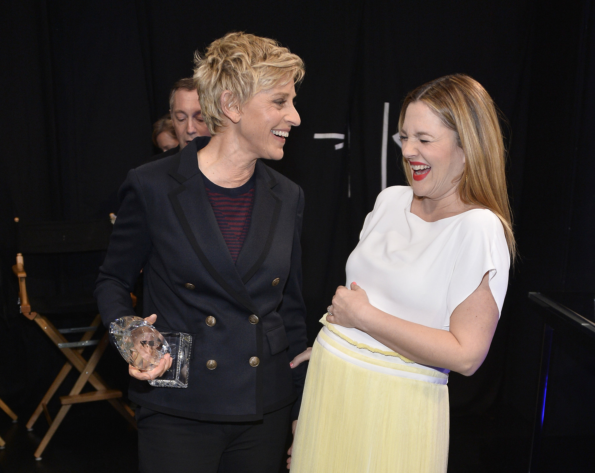 Drew Barrymore joked around with Ellen DeGeneres backstage, making for one adorable photo op.