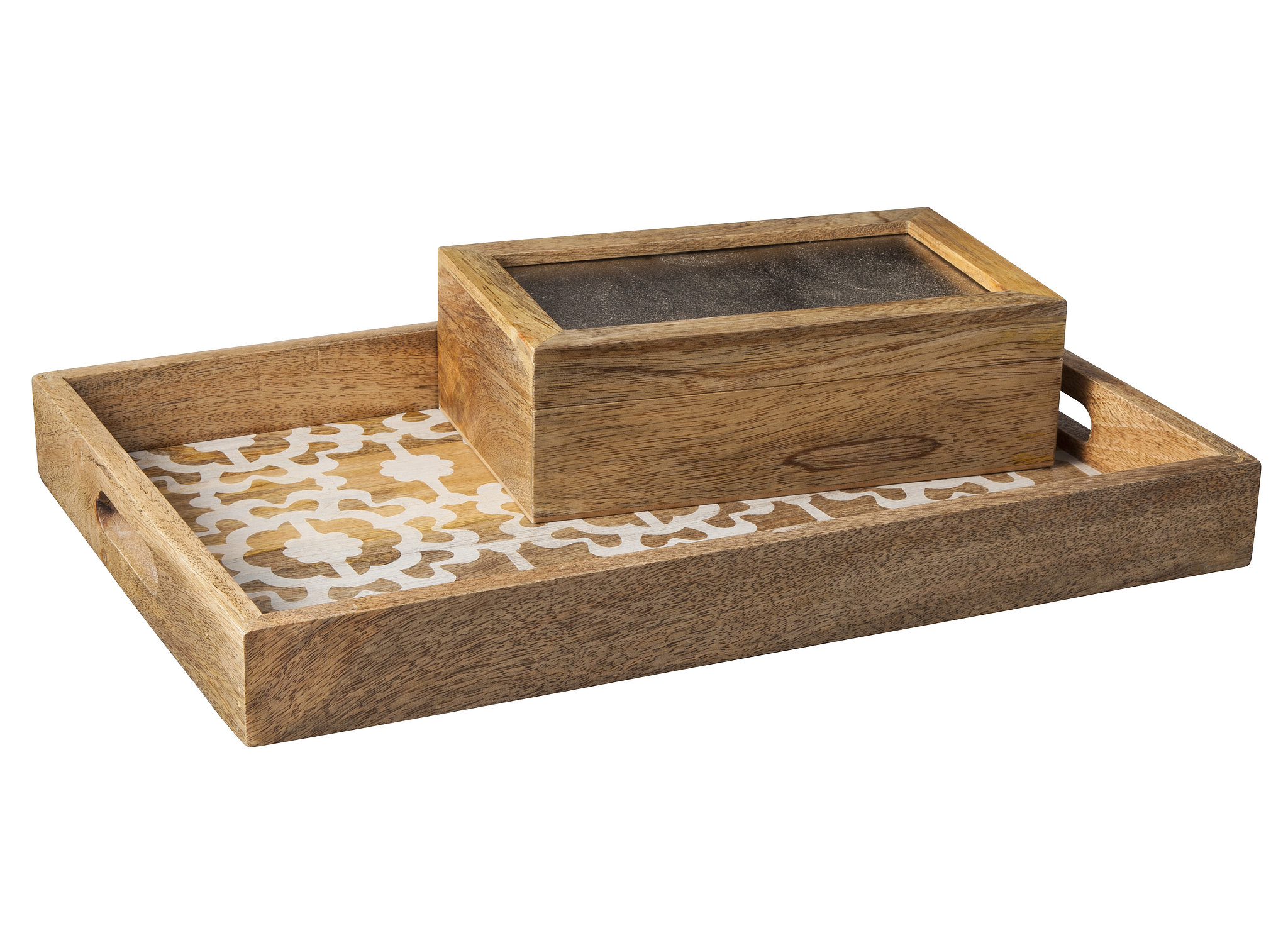 This patterned serving tray ($35) and painted box ($20) will allow you to organize in style.